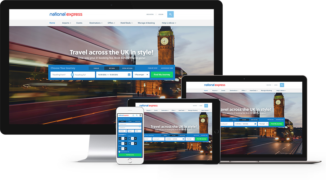 National Express website mockups