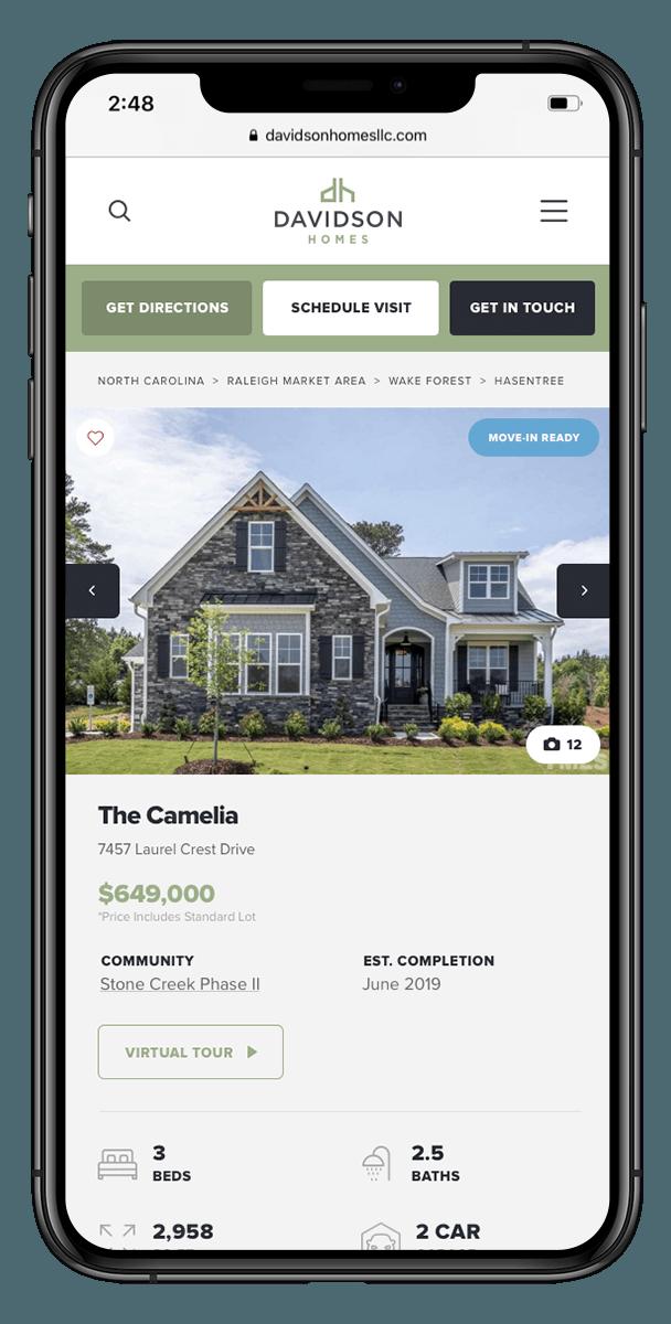 Davidson Homes website mockups