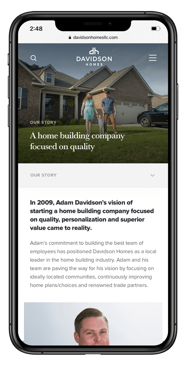 Davidson Homes website mockups