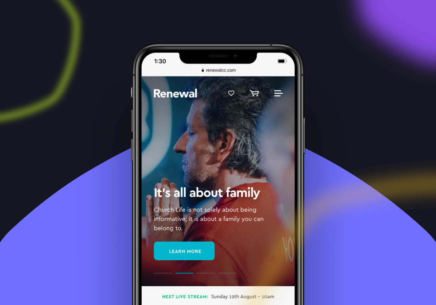Renewal mobile website mockup