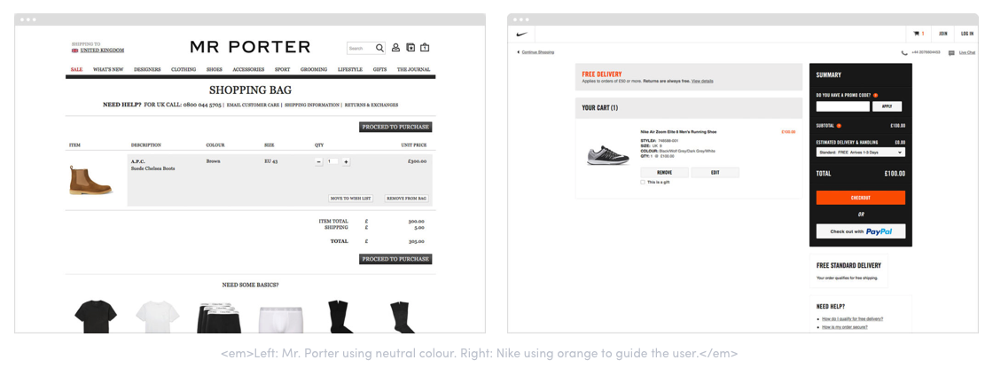 Left: Mr. Porter using neutral colour. Right: Nike using orange to guide the user.