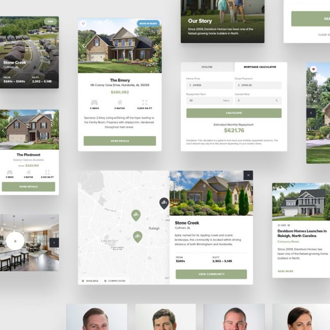 Davidson Homes website components