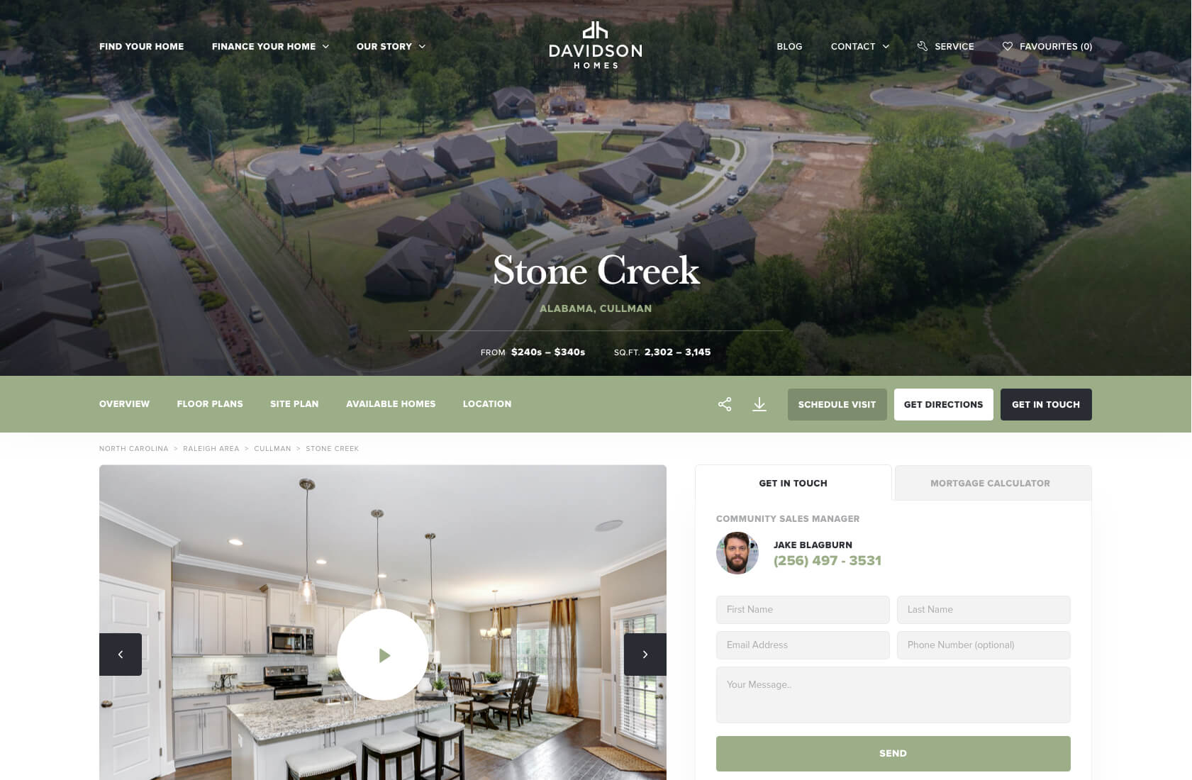 Davidson Homes website